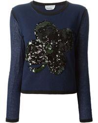 Sonia Rykiel Sequin-Shamrock Cotton-Blend Sweater - Lyst