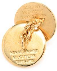 Hermès - Pre:Owned Gold Clou De Selle Cufflinks - Lyst