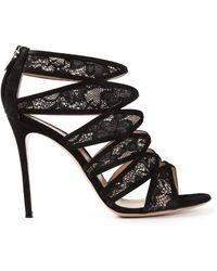 Gianvito Rossi Strappy Lace Sandals - Lyst