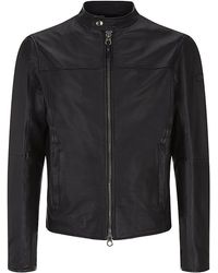 Armani Jeans Leather Jacket - Lyst