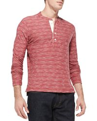 Billy Reid Melange Striped Henley Brick - Lyst