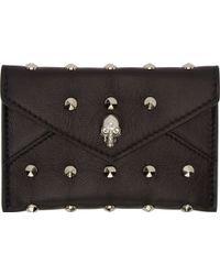 Alexander McQueen Black Studded Leather Envelope Card Holder - Lyst