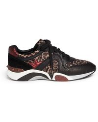 Ash Hendrix Leopard Print Leather Suede Sneakers - Lyst