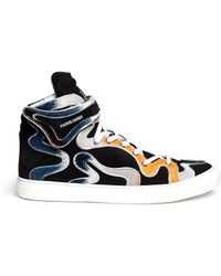 Pierre Hardy Calf Hair Curved Panel Suede Sneakers - Lyst