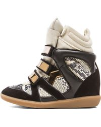 Isabel Marant Bonny Python Over Basket Calfskin Velvet Leather Sneakers - Lyst