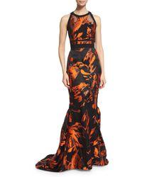 J. Mendel | Halter-neck Two-tone Gown | Lyst