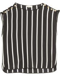 Emilio Pucci Striped Silk Cropped Top - Lyst