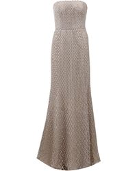 Oscar de la Renta Strapless Chiffon Embroidered Gown - Lyst
