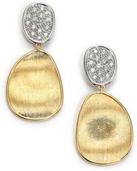 Marco Bicego Lunaria Diamond & 18K Yellow Gold Small Drop Earrings - Lyst
