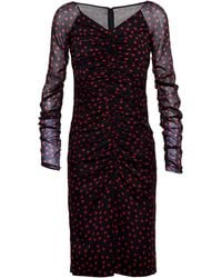 Dolce & Gabbana Ruched Silk Polka Dot Dress - Lyst