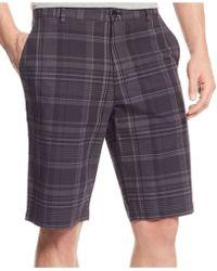 Calvin Klein Slub Multi-Plaid Shorts black - Lyst