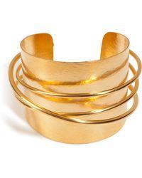 Herve Van Der Straeten Hammered Gold-Plated Epure Cuff gold - Lyst