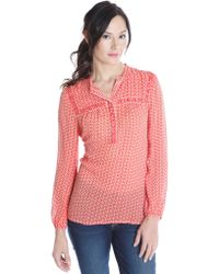 Lucky Brand Printed Peasant Top - Lyst