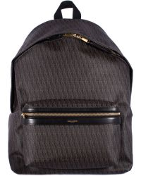 """Saint Laurent Black Canvas Printed And Leather """"Hunting"""" Monogram Backpack - Lyst"""