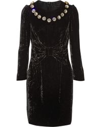 Marc Jacobs Silk Satin-paneled Embellished Velvet Mini Dress - Lyst