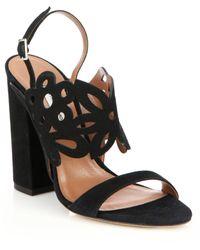 Tabitha Simmons | Floral Laser-cut Suede Sandals | Lyst