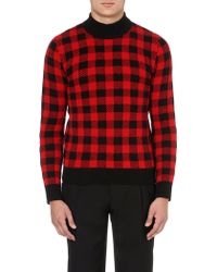 Saint Laurent Checked Wool-blend Jumper - For Men red - Lyst