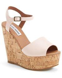 Steve Madden 'Korkey' Ankle Strap Wedge Platform Sandal - Lyst