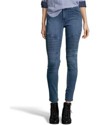 James Jeans Crush Blue Stretch 'Moto' Skinny Jeans - Lyst