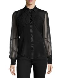 Zac Posen Sheer-Sleeve Embroidered Blouse - Lyst
