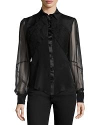 Zac Posen Sheer-Sleeve Embroidered Blouse black - Lyst