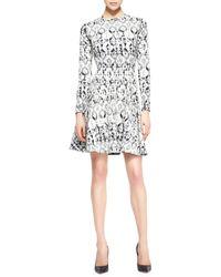 Lela Rose Reversible Long-sleeve Geometric Stretch Dress - Lyst
