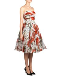 Dolce & Gabbana Carnation and Polka-Dot Dress multicolor - Lyst