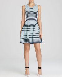Cynthia Steffe Dress - Kyra Sleeveless Stripe Knit Fit And Flare blue - Lyst