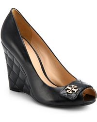 Tory Burch Leila Leather Peeptoe Wedge Pumps - Lyst