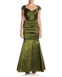 Theia Gathered Stretch Taffeta Gown - Lyst