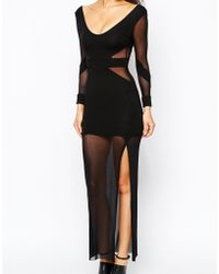 Quontum - Maxi Dress With Mesh Inserts And Sheer Skirt - Lyst