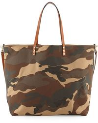 Valentino Camo Patchwork Canvas Easy Tote Bag - Lyst