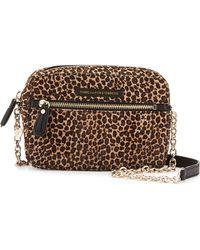 Diane von Furstenberg Milo Leopard-Print Calf-Hair Crossbody Bag - Lyst