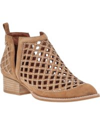 Jeffrey Campbell Taggart Cut-Out Bootie Camel Suede - Lyst