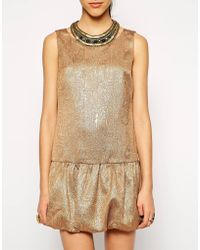 Cynthia Vincent Embellished Drop Waist Dress - Lyst