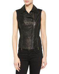 Elie Tahari Victoria Distressed Leather Vest - Lyst