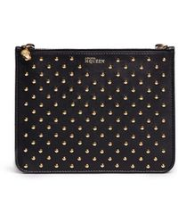 Alexander McQueen Stud Skul Charm Double Compartment Leather Pouch - Lyst