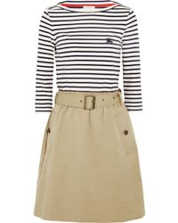 Burberry Brit - Striped Cotton-Jersey And Twill Dress - Lyst