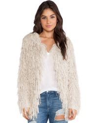Free People Faithful Shaggy Cardigan - Lyst