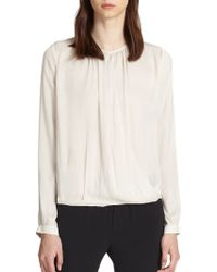 Vince Crossover Draped Blouse - Lyst
