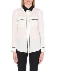 MICHAEL Michael Kors Contrast Piping Silk Button-Down Shirt - For Women - Lyst