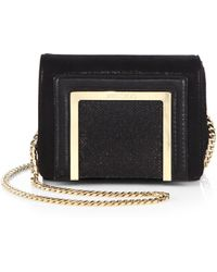 Jimmy Choo Ava Shimmer Mixed-Media Chain Shoulder Bag - Lyst