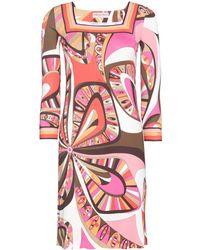Emilio Pucci Brown Printed Dress - Lyst