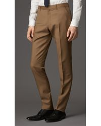 Burberry Slim Fit Wool Mohair Trousers - Lyst