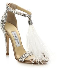 Jimmy Choo | Viola 110 Embellished Suede Feather Tassel Sandals | Lyst