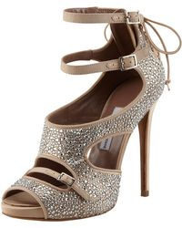 Tabitha Simmons Bailey Crystal-covered Lace-up Sandal - Lyst