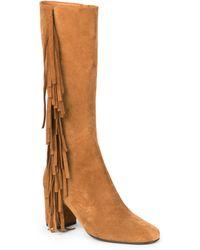 Saint Laurent Fringe-Trimmed Suede Knee-High Boots - Lyst