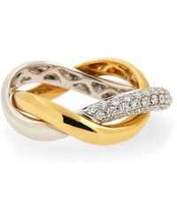 Poiray - 18K Gold Two-Tone Double-Band Diamond Ring - Lyst