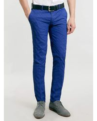 Topman Cobalt Patterned Ultra Skinny Trousers - Lyst