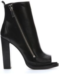 Rachel Zoe Black Leather 'Jillian' Open Toe Moto Boots - Lyst